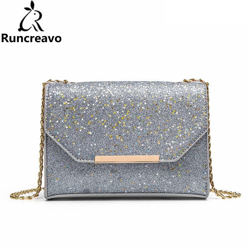 2018 crossbody bags for women leather handbags luxury handbags women bags designer sequined chain messenger bag bolsa sac a main