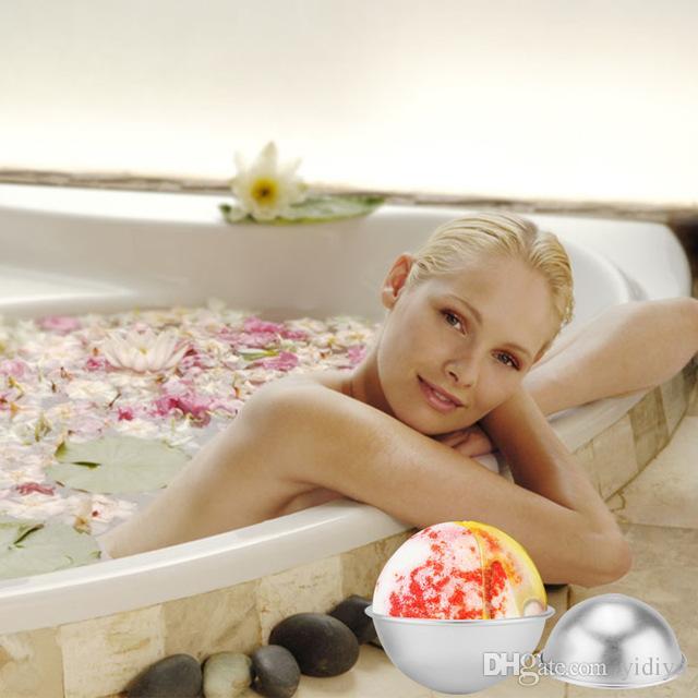 أعلى جودة الألومنيوم حمام قنبلة قوالب 24 قطع نصف جولة الكرة diy المعادن حمام قنبلة القنبلة محلية الصنع جولة المجال الغازية