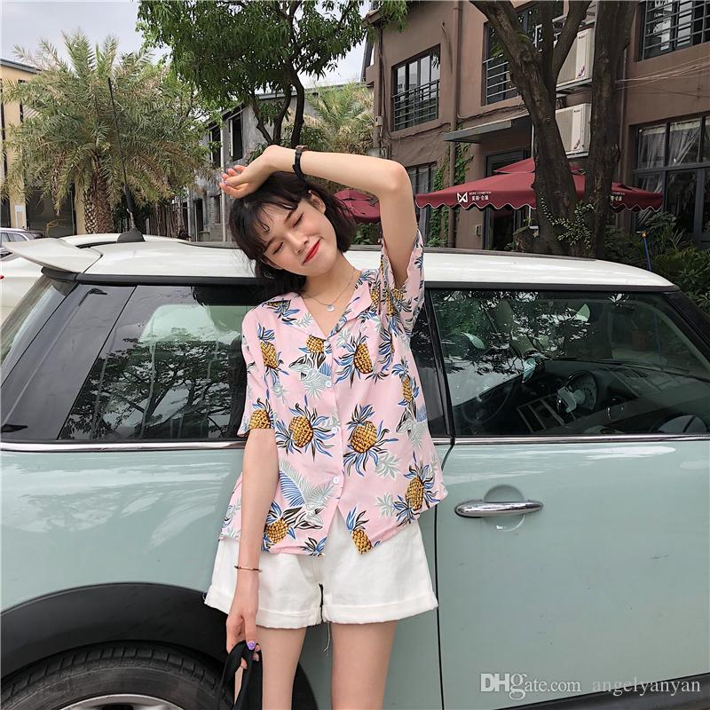Simple Pineapple Printed Casual Loose Short Sleeve Smooth College Wind Holiday 2018 New Fashion Special Female Shirts