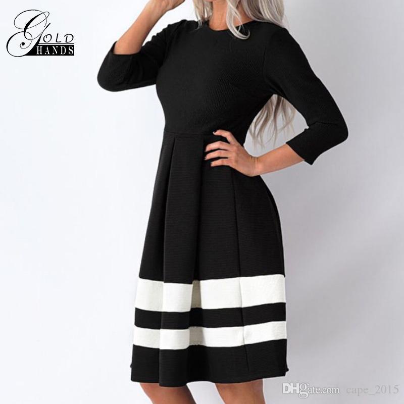Pliegues y rodillas en la cintura contraste raya blanca dobladillo falda negra delgada Moda de manga larga elegante vestido de invierno cuello redondo