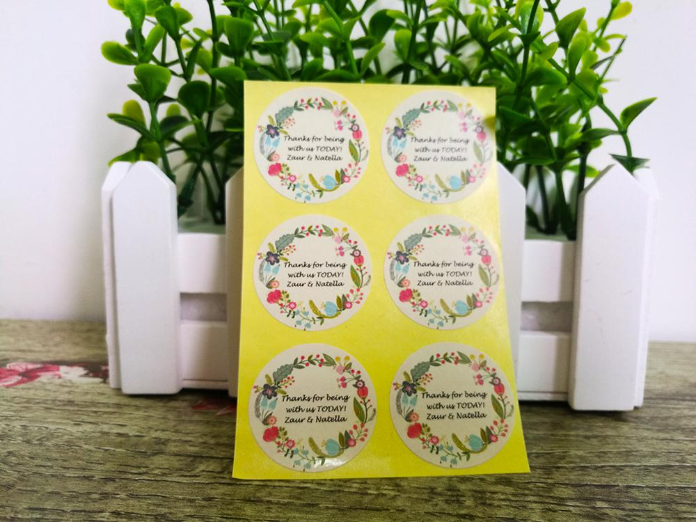custom stickers/Wedding Stickers printed LOGO transparent clear adhesive round label Gift Tags Party Decorations paper