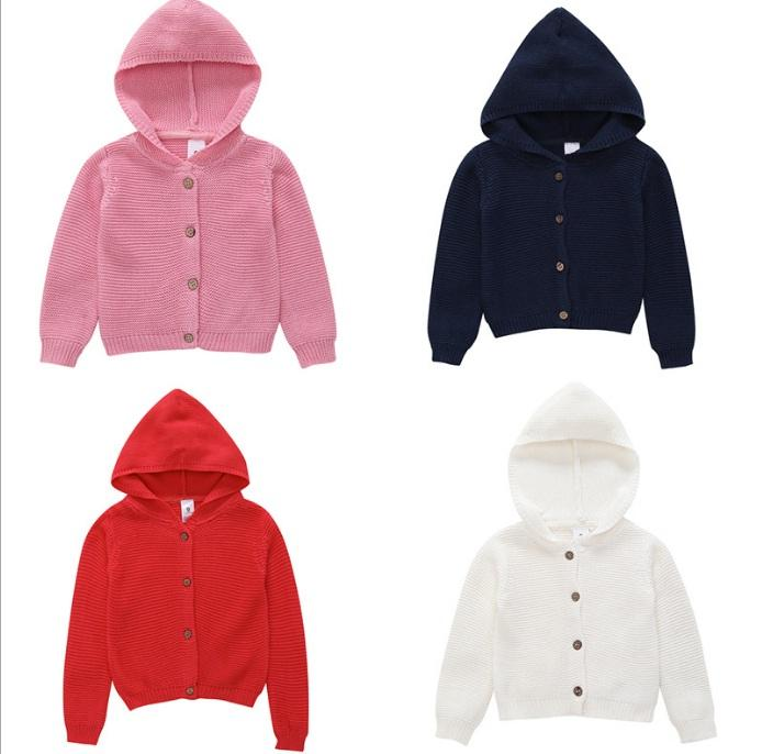 c529de2785e Baby Girls Long Sleeves Hoodie Cardigans Sweater Fall 2018 Kids Boutique Clothing  Infant Toddlers Children Girls Solid Color Knit Outerwear Girls Navy Blue  ...