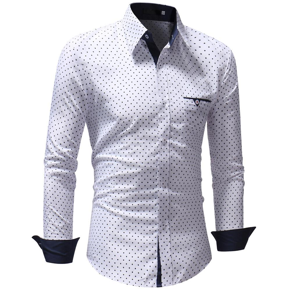 f564fa0a88b6 Camisas Hombre 2018 Marca Moda Camisa Masculina Manga Larga Tops Polka Dot  Camisa Casual Camisas de Vestir Delgado Slim XXXL