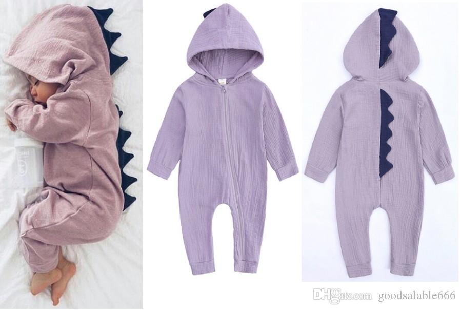 d62b3ab00 2019 Baby Spring Hooded Rompers Kids Cute Dinosaur Jumpsuit Girl ...