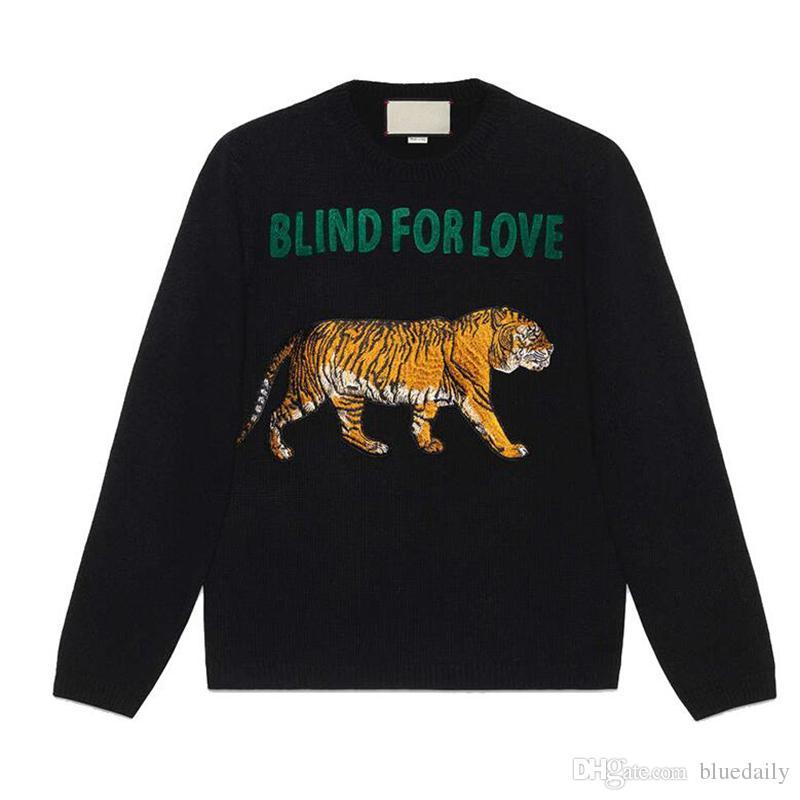 ad75506f3666f Compre Tigre Camisolas CEGO PARA AMOR Carta Marca De Luxo Pullover ...