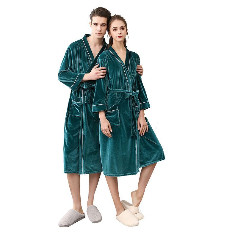 Luxury Lovers Soft as Silk Fall Winter Bathrobe Men And Women Kimono ... 5c4833d14