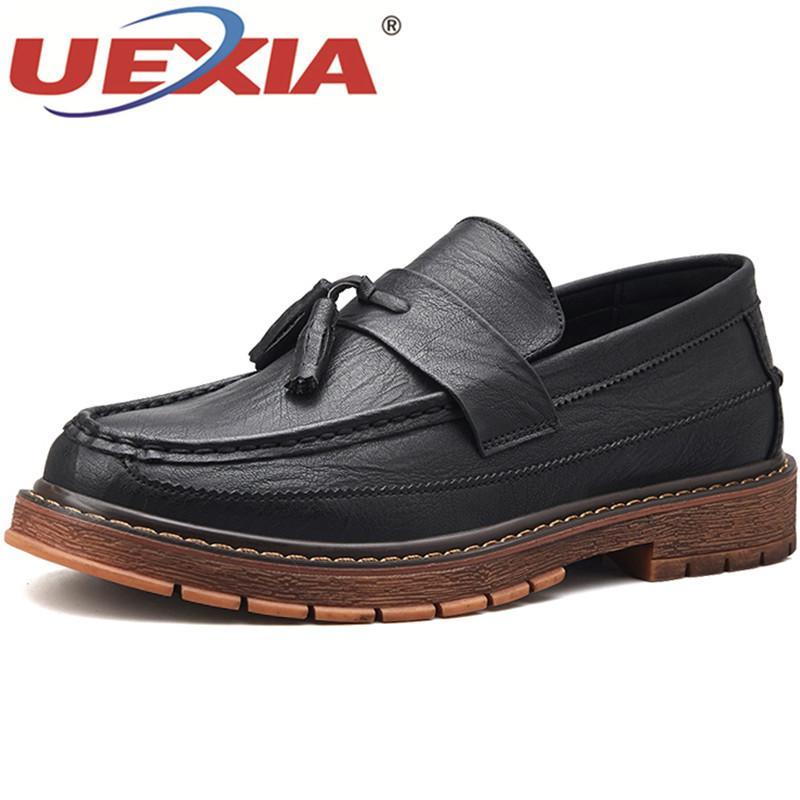 a980782fda1 Compre UEXIA Zapatos Casuales Hechos A Mano Mocasines De Cuero Calzado De  Mediana Edad Primavera Otoño Pisos Comerciales Calzados Suaves Oxfords A   31.27 ...