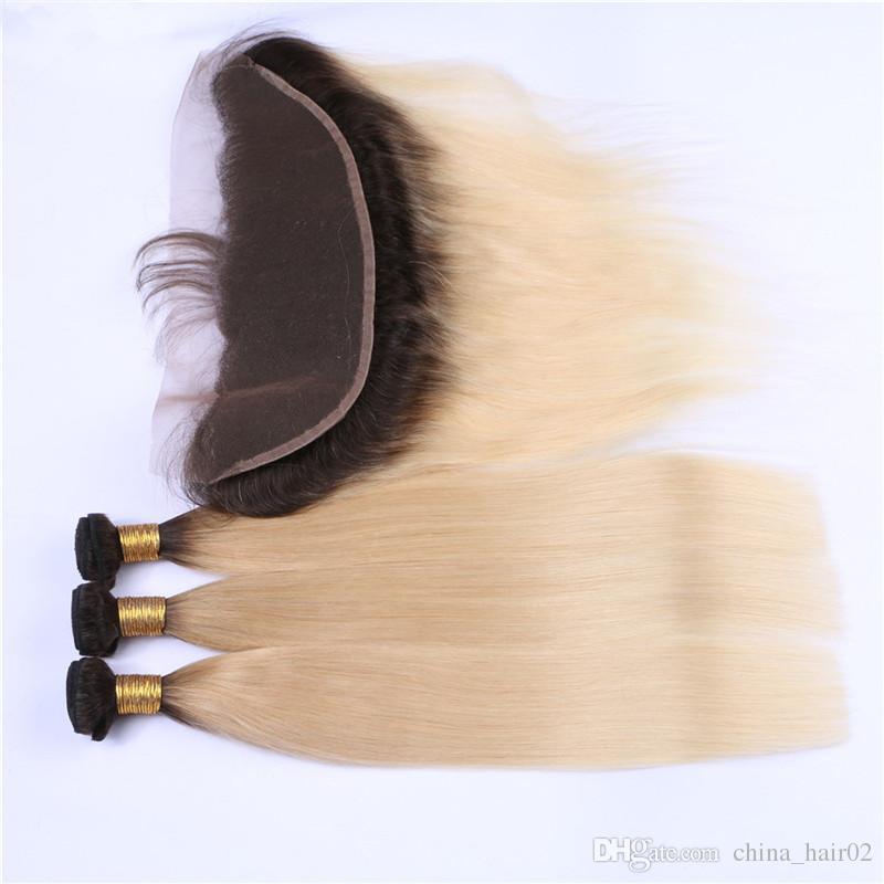3Bundles ile Düz # 1B / 613 Dantel Frontal Ombre Blonde ile Sarışın Ombre Perulu Bakire İnsan saç örgüleri 13x4 Tam Dantel Frontal Kapanış