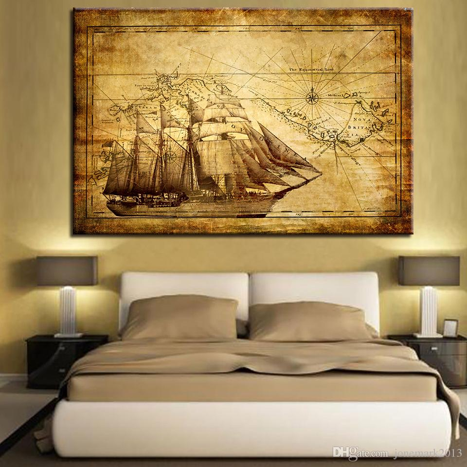 Canvas Painting Home Wall Art Decor HD Print /Pcs Vintage Sailboat Map Poster Living Room Sailing Boat Pictures Framework