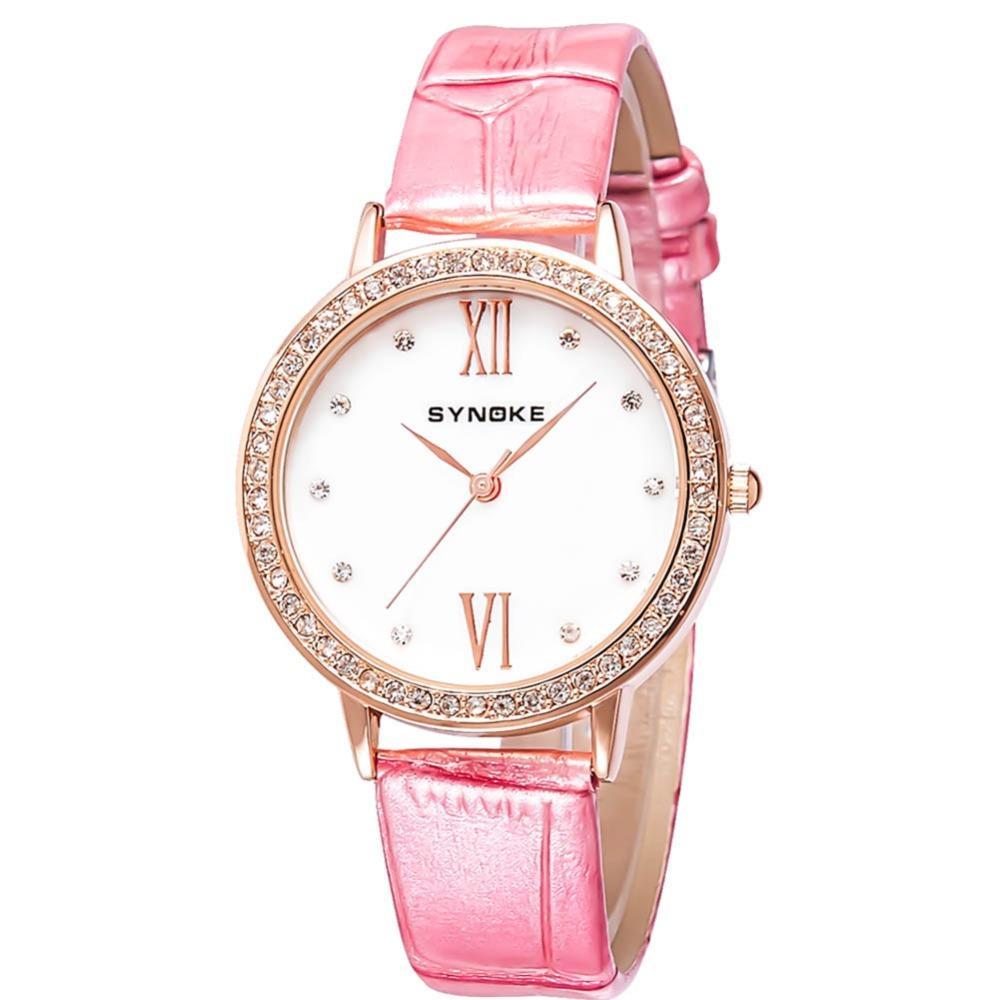 05435eea08b Compre Diamante De Ouro Dial Mulheres Relógio De Quartzo Marca De Luxo  Elegante Pulseira De Couro Rosa Pulseira Relógios De Pulso À Prova D  Água  Relogios ...