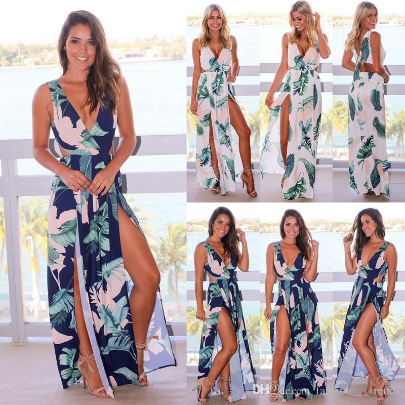 a7044455ae Summer Beach Maxi Dress Women Fashion Floral Print Dress Casual V Neck Sleeveless  Backless Spaghetti Strap Side Split Long Dress Vestidos Night Dresses ...