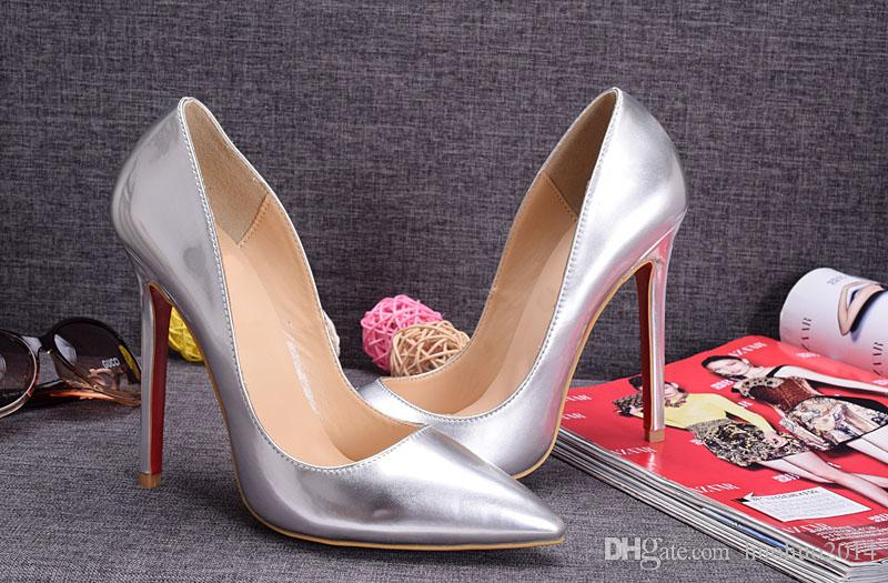 Fashion New Style Womens Sexy Shoes 12cm High Heels Wedding Shoes With Thin Heels 35-41 Red Silver Nude Black