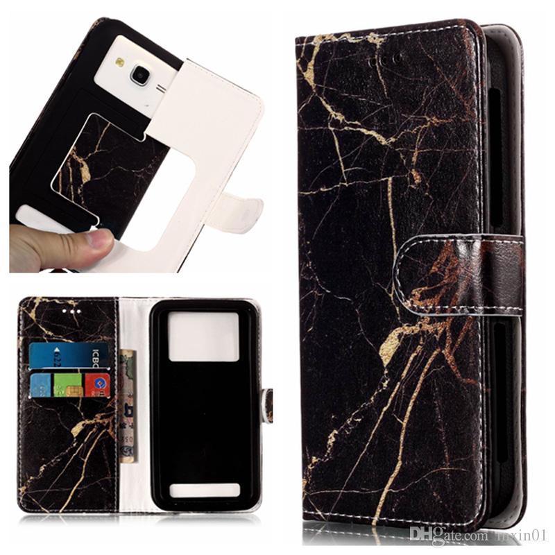 Cajas de la billetera de la flor de mármol universal Funda de la ranura de la tarjeta de cuero de la PU para 3,0 a 5,5 pulgadas Teléfono móvil iPhone Samsung LG HTC Nokia Sony Huawei Redmi Moto