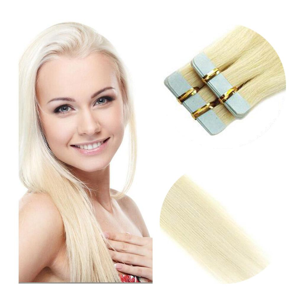 Quality Professional Tape Hair Extension Human Hair Platinum