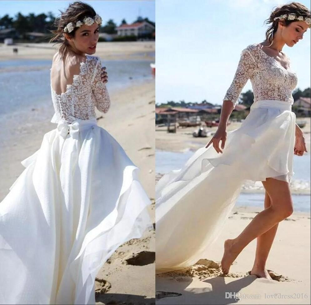 018000c4925 Discount Summer 2018 Beach Wedding Dresses With Lace 3 4 Long Sleeves  Buttons Back Bridal Gowns High Low Chiffon A Line Dress Big Wedding Dresses  Black And ...
