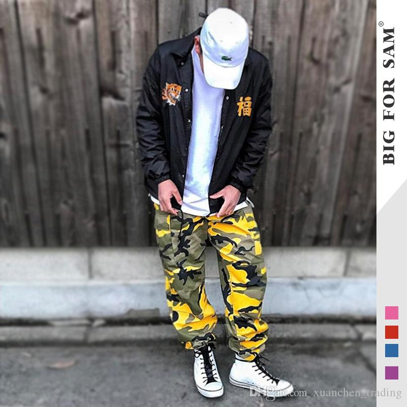 51313563e13e Camo Cargo Pants 2017 Mens Fashion Baggy Tactical Trouser Harajuku Hip Hop  Casual Cotton Multi Pockets Pants Streetwear From Xuanchen trading