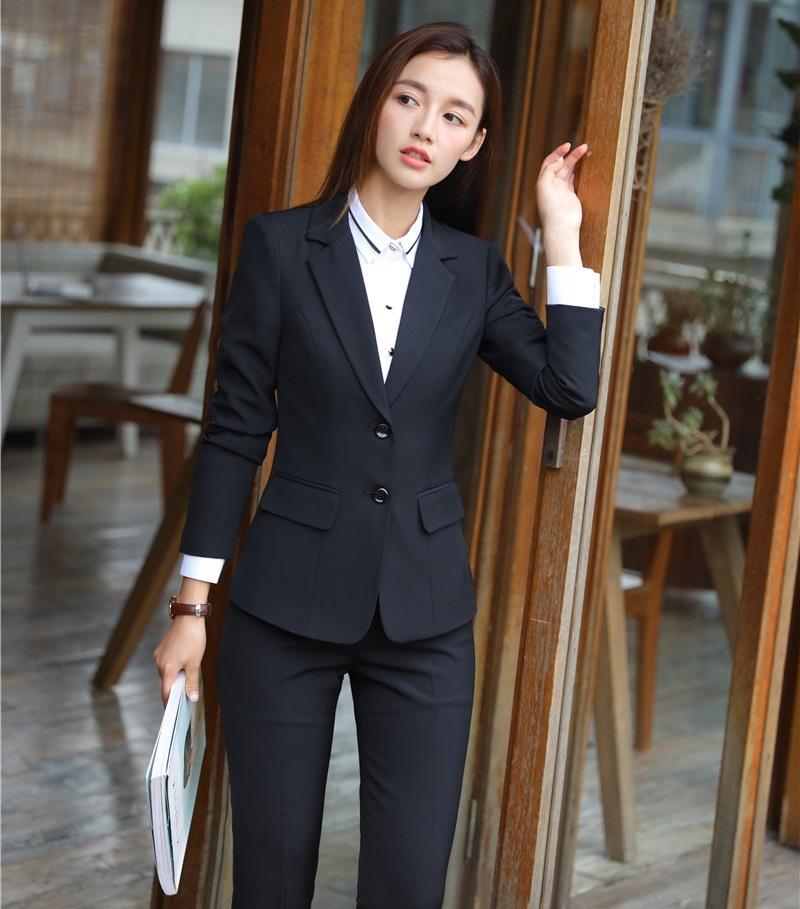 b3bde18a4a Compre Formal Preto Blazer Mulheres Ternos De Negócios Com Calça E Conjunto  De Jaqueta EleLadies Trabalho Desgaste Uniforme De Escritório Projeta  Estilo De ...