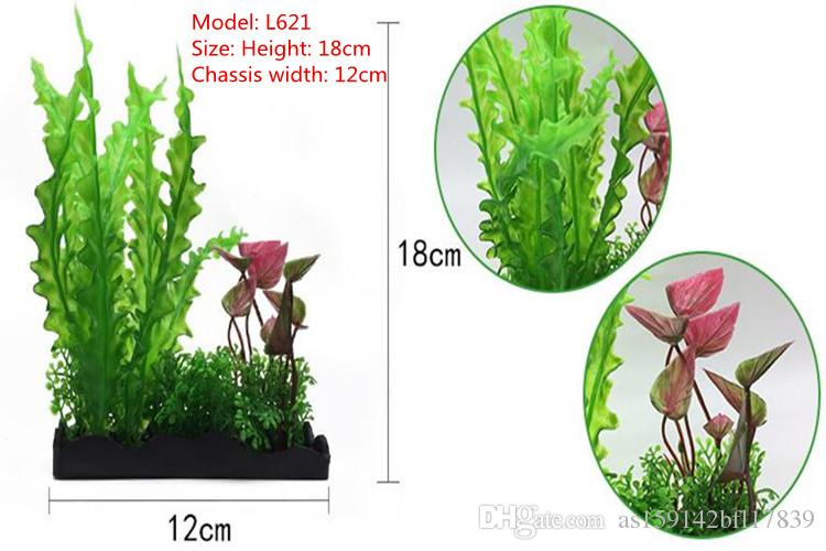 Plantes en plastique colorées Aquarium Water PlantAquarium aménagement paysager vraiment l'eau plantes d'aquarium mis faux fleurs en plastique décoration au premier plan