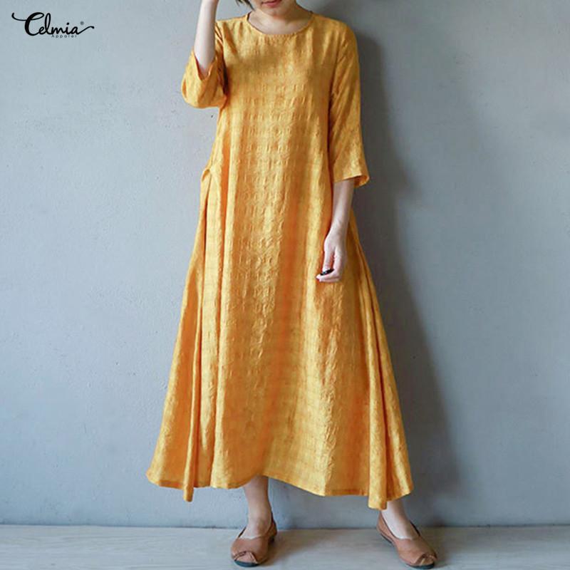 c35d2b09d5206 Plus Size Vintage Women Maxi Dress 2018 Celmia Casual Party Kaftan Baggy  Summer Dress Asymmetric Hem Long Shirt Vestidos 5XL