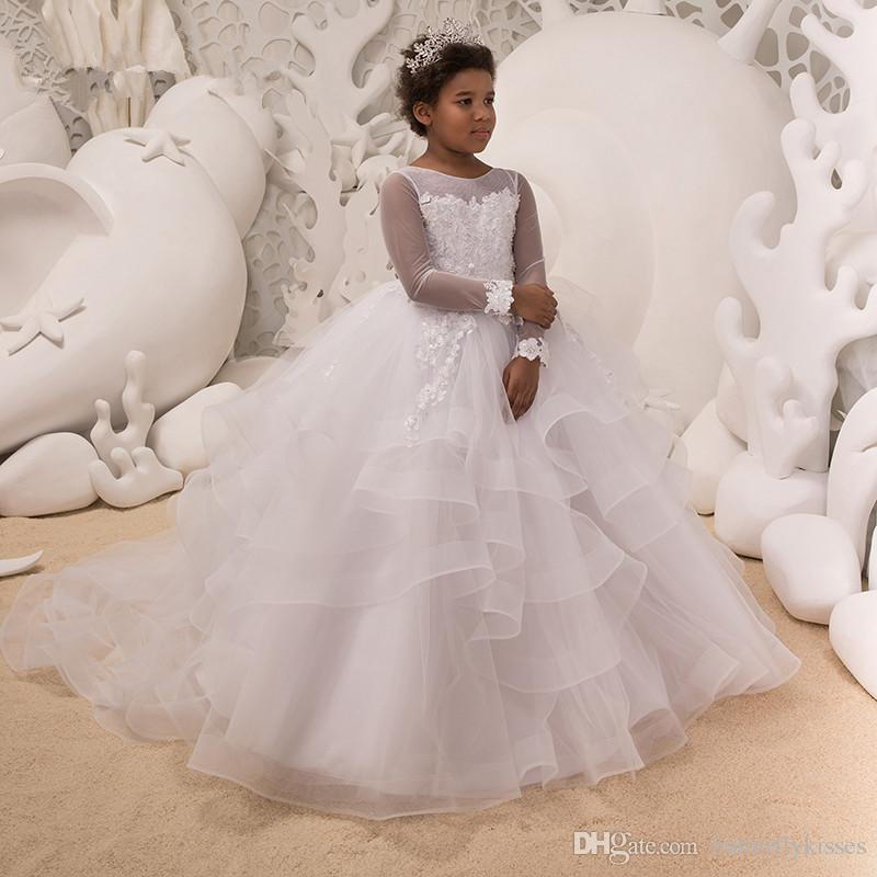 f6fc8e34d13 White Ball Gown Flower Girl Dresses 2018 New Girls Pageant Gowns For Weddings  First Communion Dresses For Girls Vestidos Daminha Flower Girl Dresses ...