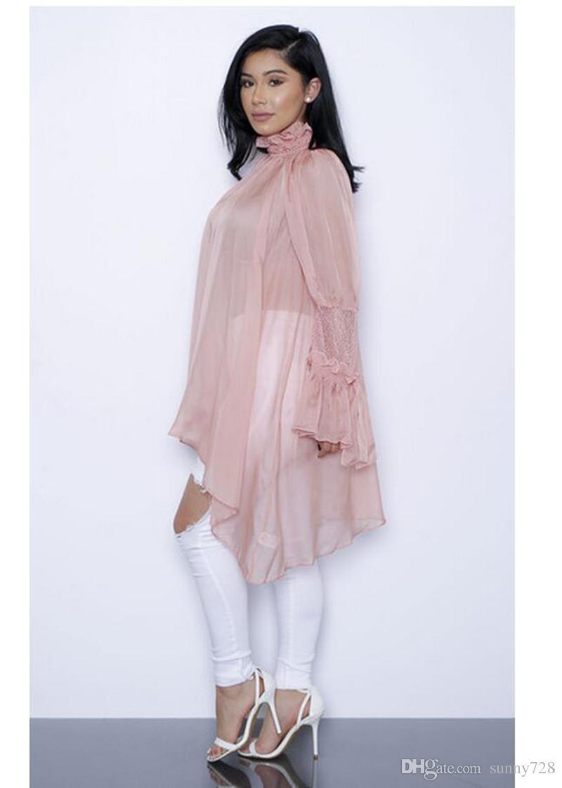 Sexy Voir à travers les robes d'été en mousseline de soie irrégulière Une ligne à volants col haut manches longues en dentelle Lace Cover up 2018 Nouveautés