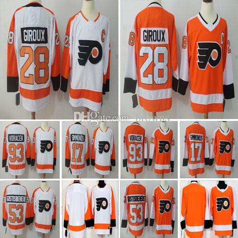 e0cbfd22d8d 2019 2018 Philadelphia Flyers Jersey Hockey 53 Shayne Gostisbehere 17 Wayne  Simmonds 28 Claude Giroux 93 Jakub Voracek Stitched Jerseys From Browns, ...