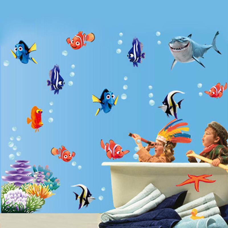 fish bubble starfish cartoon wall sticker for wall stickers shower