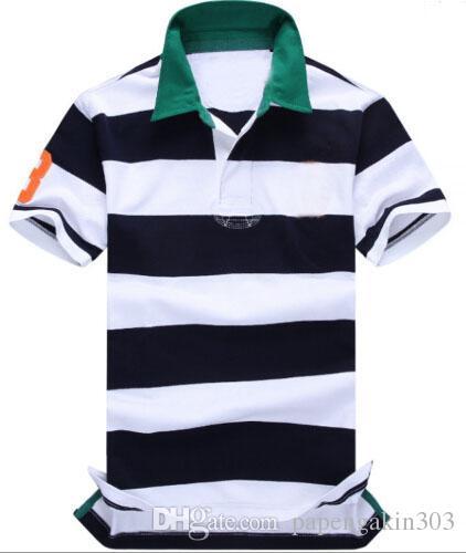 Mode rayé polos pour hommes été printemps coton masculin sport Polos à manches courtes Business Tshirt Top Marine Bleu Vert Rouge Taille S-XXL