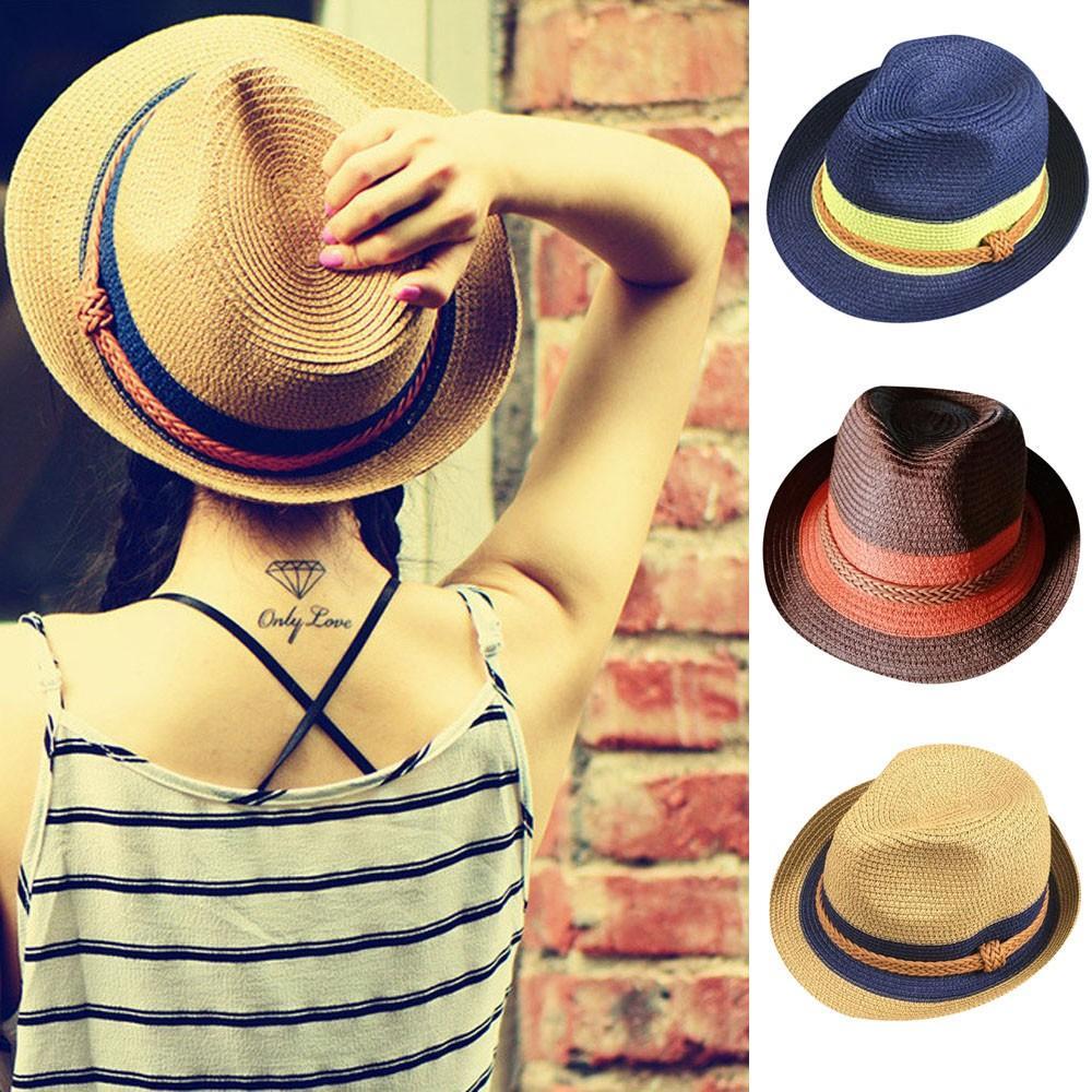 Flat Top Straw Hat Summer Spring Women s Trip Sun Hats Floppy Foldable  Ladies Women Straw Beach Sun Summer Hat Wide Brim Black Hats Scala Hats  From Haydene 6c5177928a7