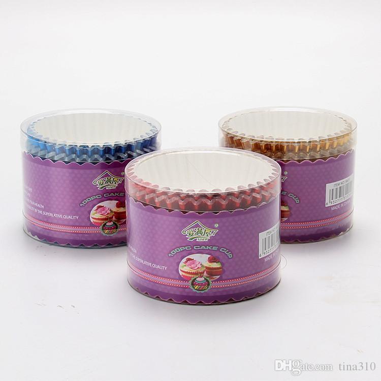 Nouveaux emballages de Cupcake de papier de couleur pure Outils de décoration de gâteaux Muffin Cups nouvellement / T2I221