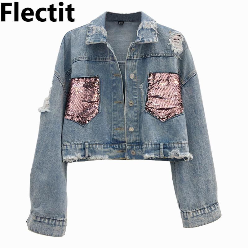 ef54d089e4a78 Flectit Womens Crop Jacket Long Sleeve with Sequin Pockets Frayed Hole  Jeans Jackets Denim Coat Female jaqueta feminina