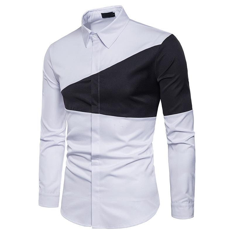 f384aa249b2e 2019 Mens Autumn Winter Two Color Triangle Stitching Men Fashion Dress  Shirts Lapel Long Sleeves Casual Shirt Camisa Slim From Harrietai, $35.05 |  DHgate.