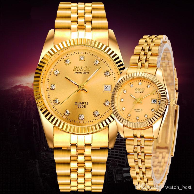 6a675f432b0f Compre Amantes Hombres Mujeres Reloj Chapado En Oro Diamante Cuarzo  Luminoso Calendario Reloj De Pulsera De Acero Inoxidable A Prueba De Agua  Para Hombre ...