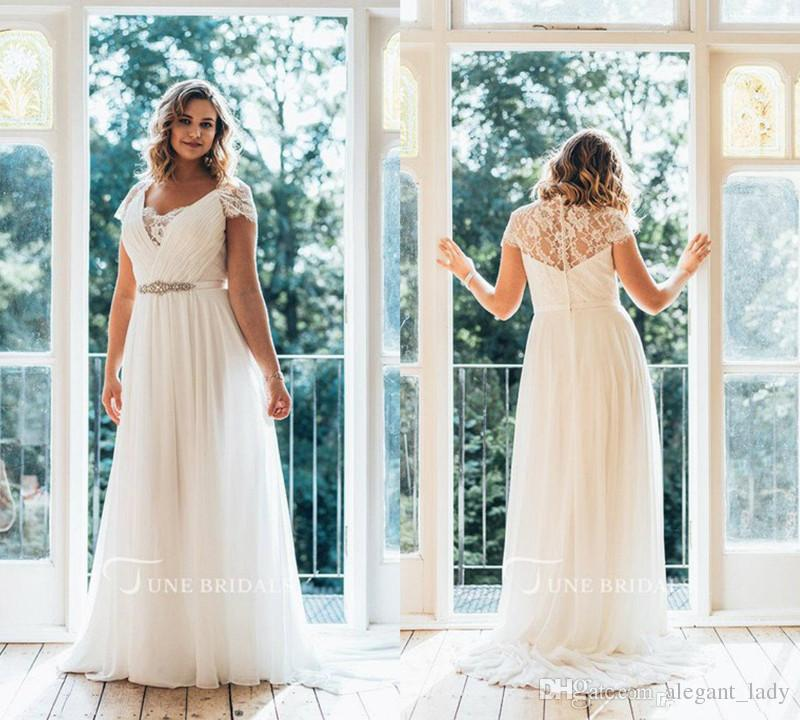 Simple Plus Size Wedding Dresses V Neck Cap Sleeve Floor Length Lace  Country Bridal Dress A Line Belt Chiffon Cheap Wedding Gowns