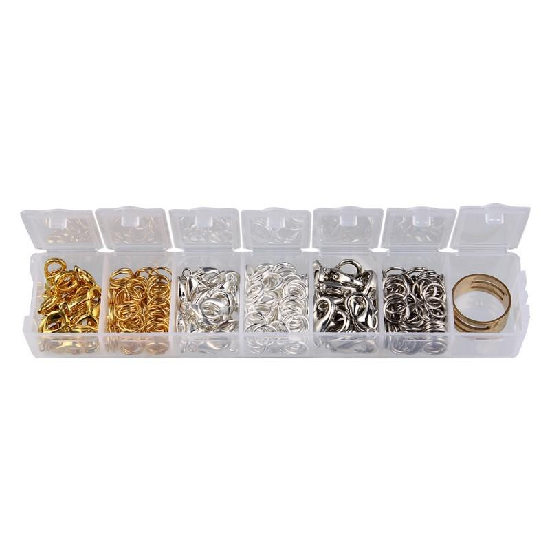 3 Size Jewelry Findings Accessories Kit Box Set Lobster Clasps Jump Rings for DIY Jewelry Making Tools Free DHL G371S