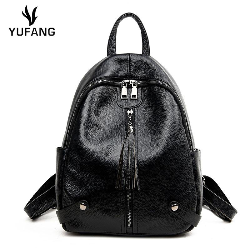 7d55cecf9206 YUFANG Natural Cowhide Women Backpack Genuine Leather Female Travel Bag  Young Girl School Bag Students Fashion Shoulder Lady Swissgear Backpack  Swiss ...