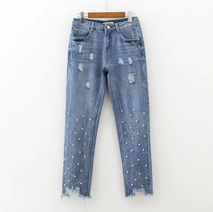 5d76780113f5 2019 2017 Women Jeans Casual Fashion Solid Color Boyfriend Jeans Nail Beads  Decorative Holes Broken Worn Ripped For Women From Volontiers