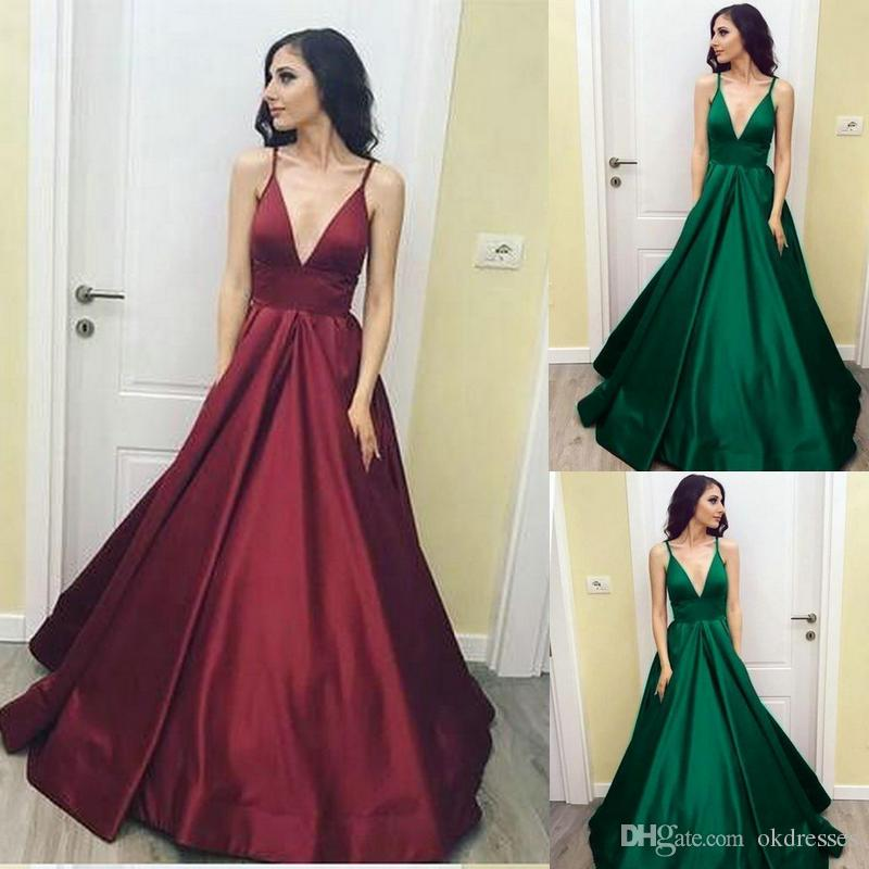 420dfbea8749 2018 Dark Green Prom Dress V Neck Prom Dress Satin Evening Gowns Simple  Evening Gown CK328 Elegant Evening Gowns Elegant Gowns From Okdresses, ...