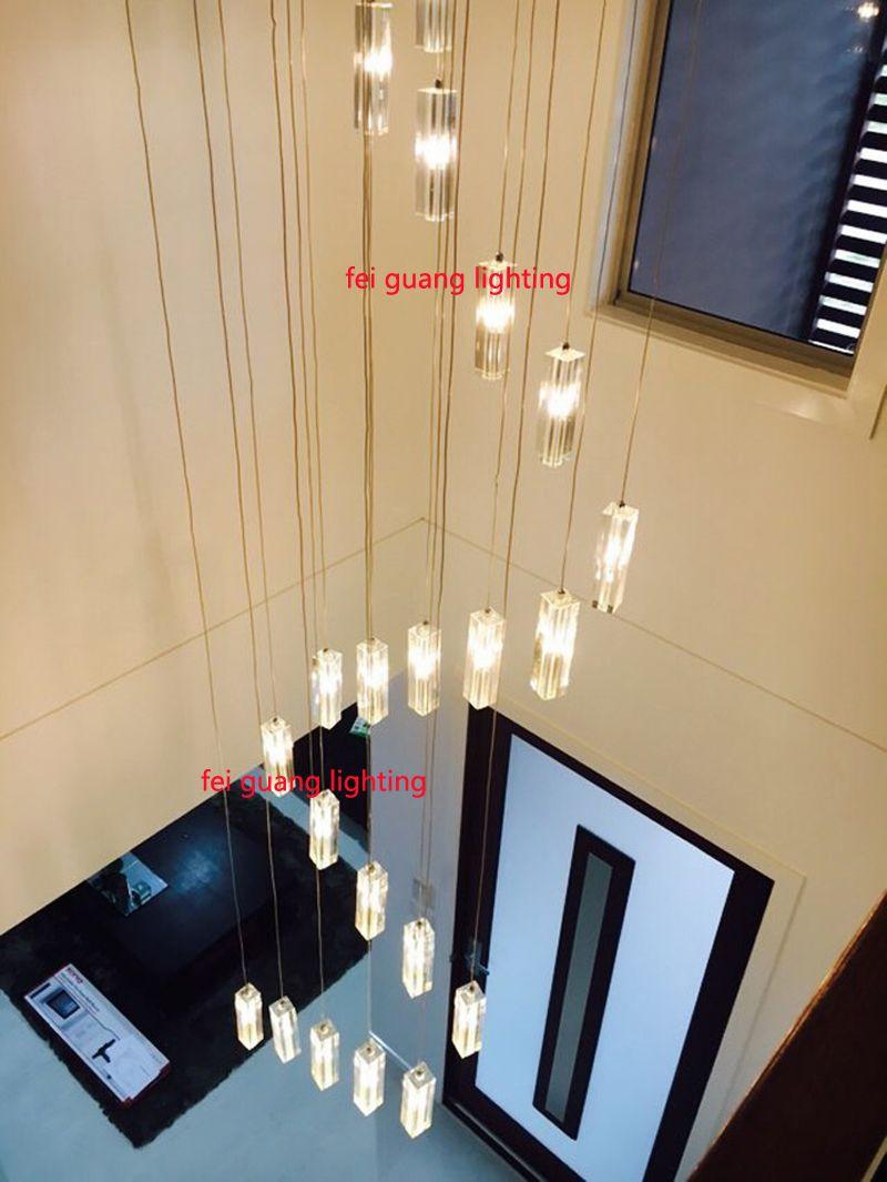 LED хрустальная люстра освещение лестницы длинной спиральной лестнице люстры современные светодиодные люстры лестница освещение канделябра ZG8065