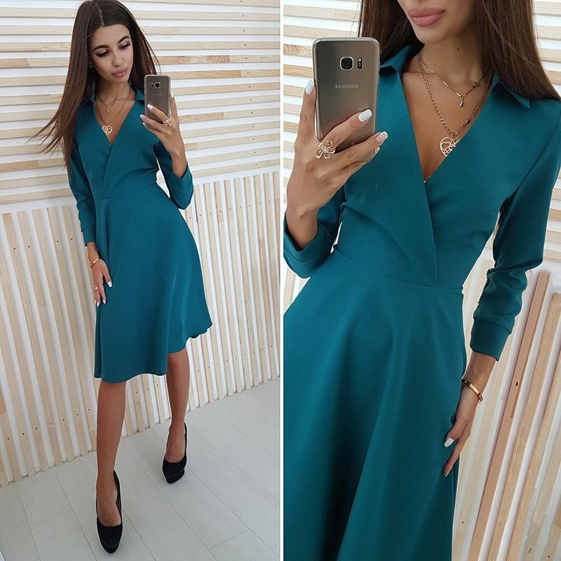 ce76f81ebf Sexy Deep V Neck Autumn Dress 2018 Women Solid Long Sleeve Slim Casual A Line  Dress Elegant Office Lady Party Mini Dresses UK 2019 From Pileilang