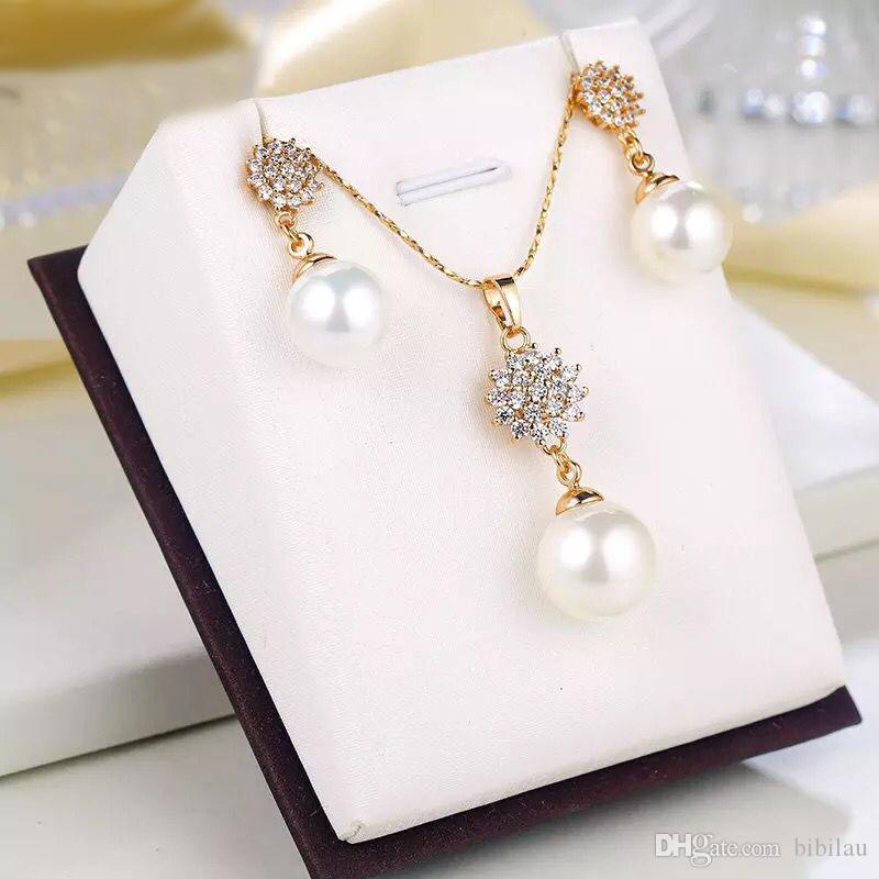 e7e3ac6e9 2019 216S Smooth Big Pearl Pendant Necklace And Drop Earring Jewelry ...