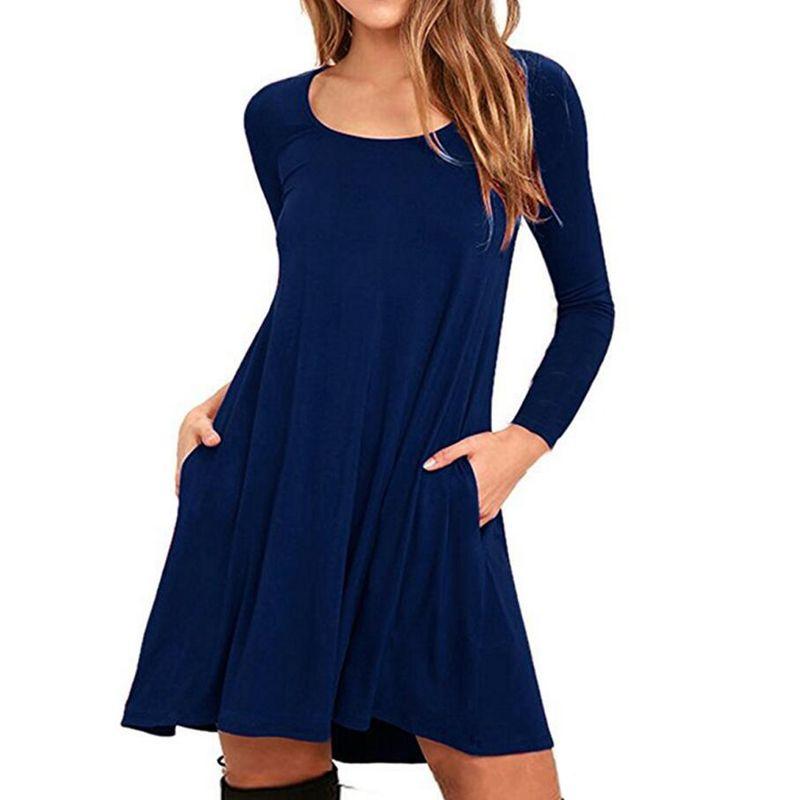 Plus Size Dress 2018 Women Mini Vestido Pocket Loose Cotton Casual Dress Spring Long Sleeve Round Neck