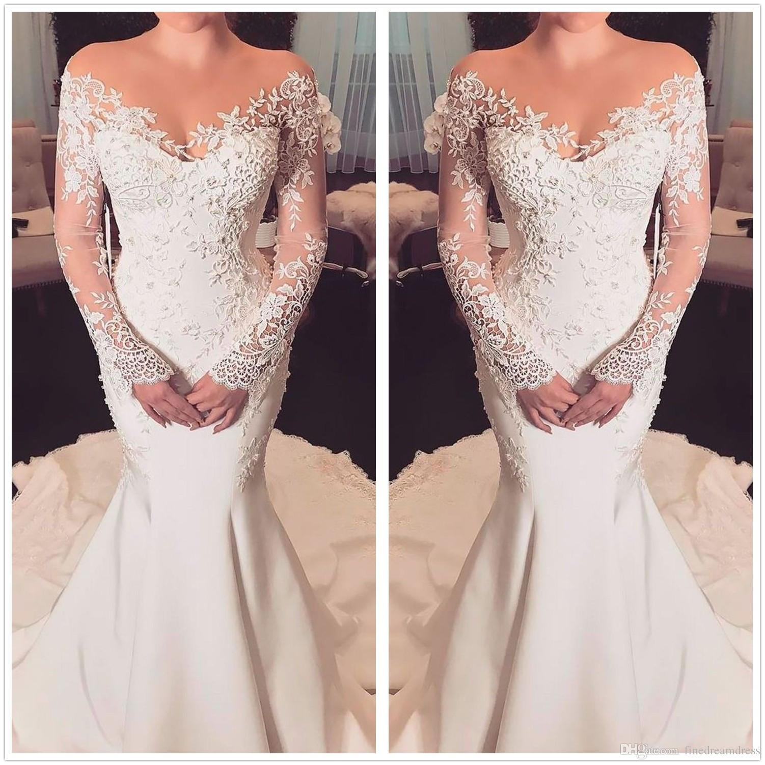 36bebd890326a 2018 Sheer Long Sleeves Lace Mermaid Wedding Dresses Mesh Top Lace Applique  Satin Sweep Train Wedding Bridal Gowns Long Sleeve Wedding Dresses Plus  Size ...