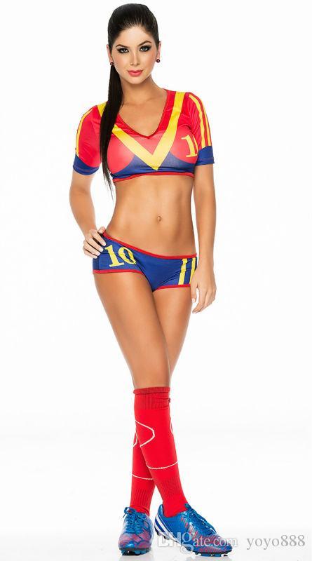 Sexy Lingerie Uniform Soccer Player Cheerleader World Cup Football Girl party dress Fancy Dress Costume SM8890