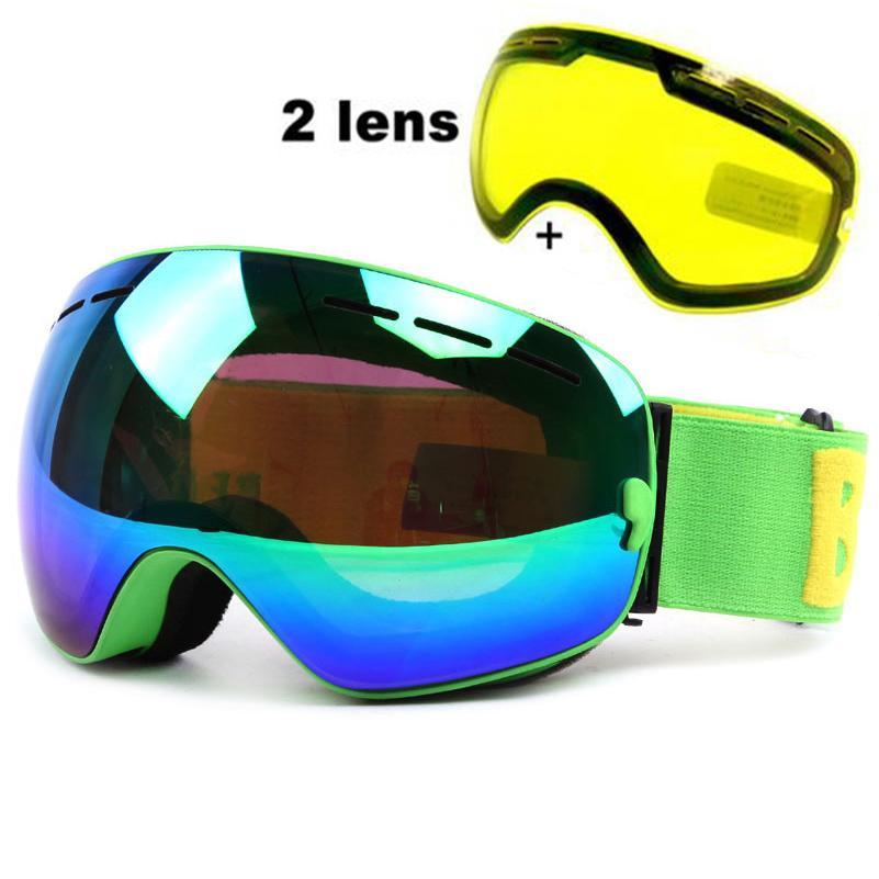 88efe29e6768 2019 Anti Fog Ski Goggles UV400 Ski Glasses Double Lens Skiing Snowboard Snow  Goggles Ski Eyewear With One Brightening Lens For Men C18110301 From  Shen8402