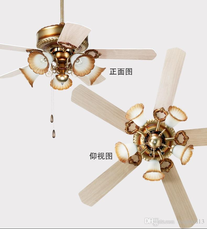 Modern Bronze Metal Led Ceiling Fans Lamp Lustre Glass Dining Room Led Ceiling Fan Lighting Wood Leaf Led Ceiling Fan Lights Ceiling Fans Lights & Lighting