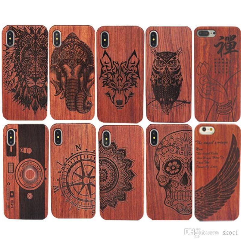 Caso de madeira genuíno para iphone x 6 7 8 capa dura escultura de madeira shell telefone para apple iphone 7 plus habitação de bambu de luxo s9 retro protetor