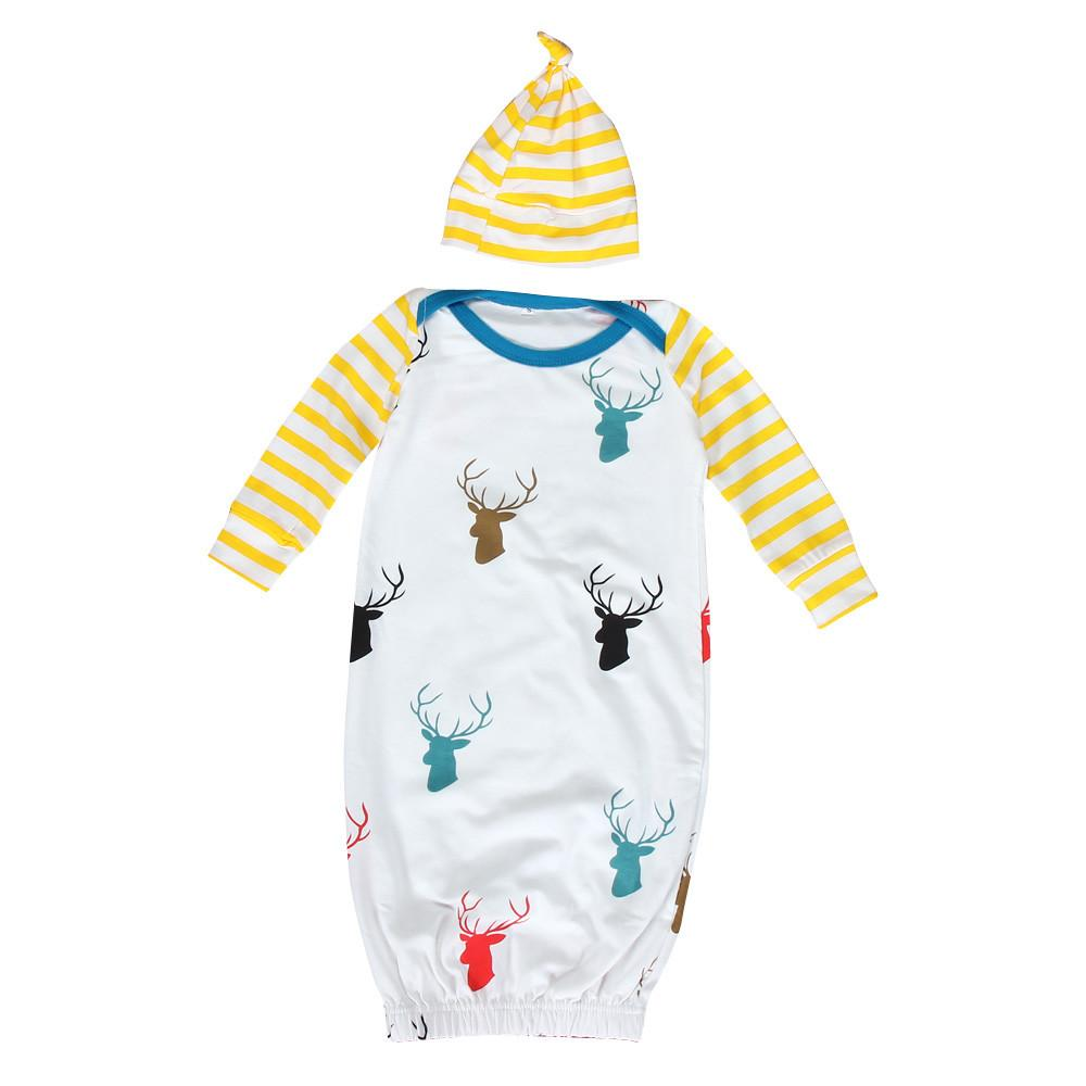 Baby Cotton Infant Baby Long Sleeve Deer Print Newborn Gown Matching ...