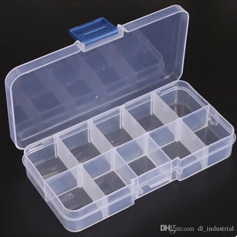 Adjustable sewing box 10 grids Transparent case Jewelry Bead Buttons Organizer Small sewing hand knitting tools storage box DL_SWT015
