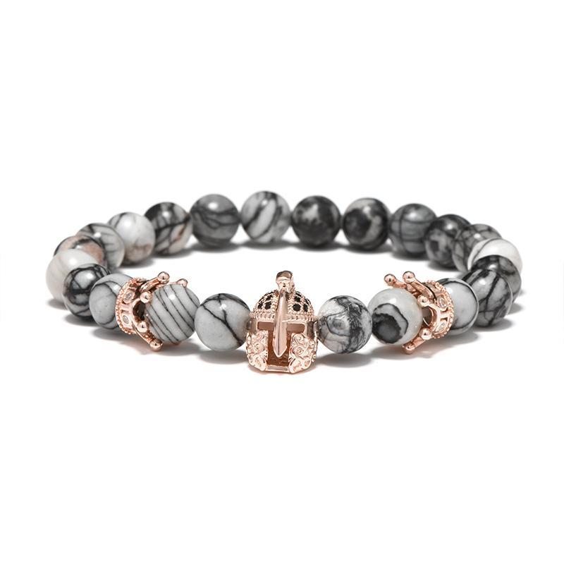 Mode Kristall Krone Spartan Armbänder Antike Naturstein Perlen Romeinse Ridder Sparta Helm Armband Für Männer Hand Schmuck
